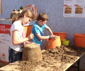Building sandcastles at Weston