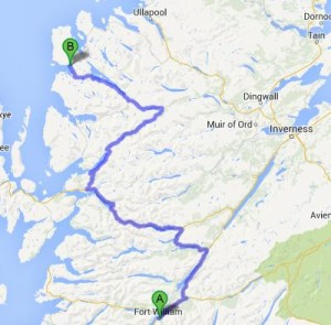 Our route from Fort William to Gairloch