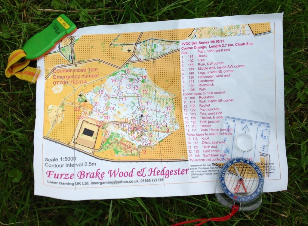 Orienteering map, compass and dibber