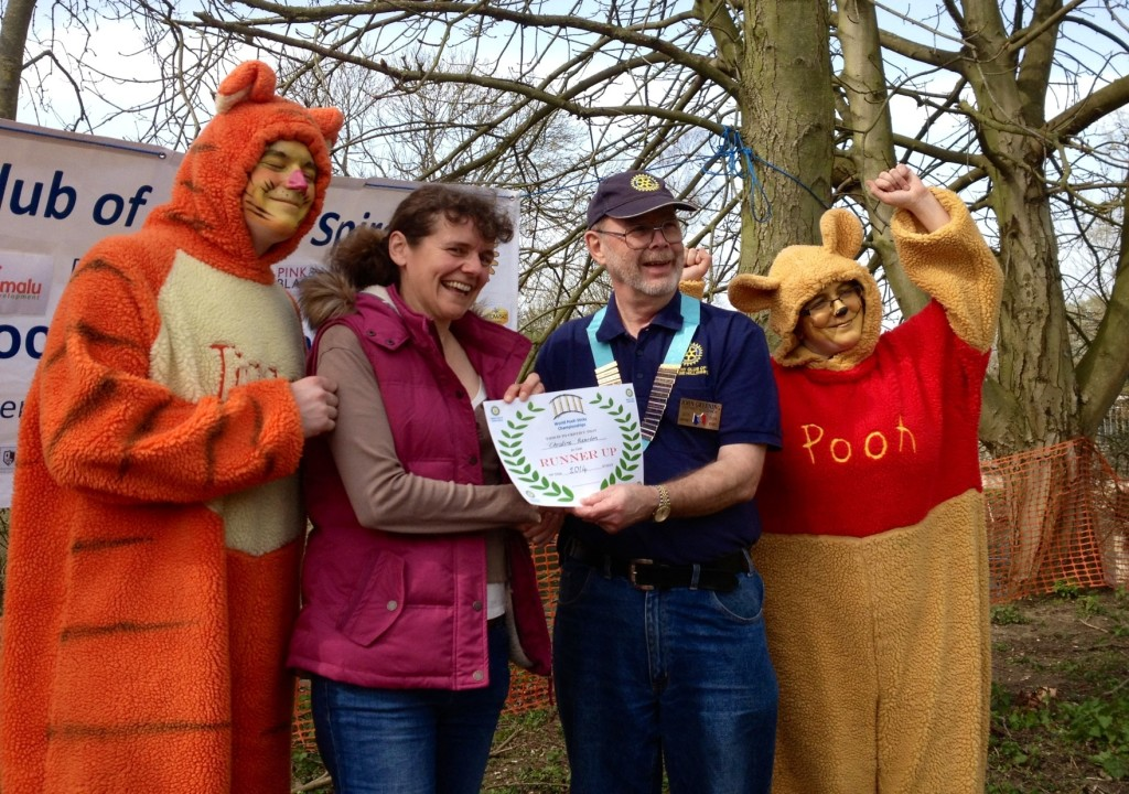 Receiving my Pooh sticks runners up certificate