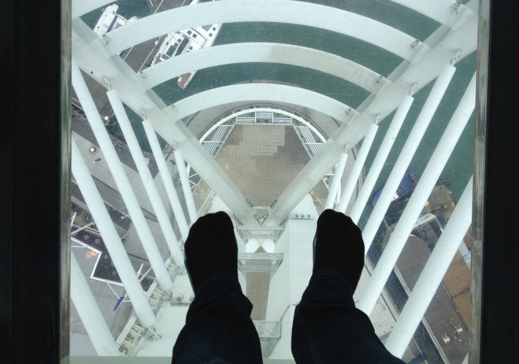 Standing on the glass floor, Spinnaker Tower