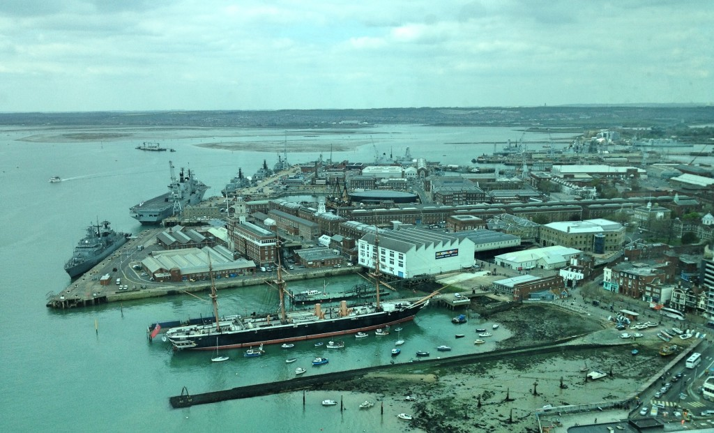 View from Spinnaker Tower over Portsmouth Historic Dockyard