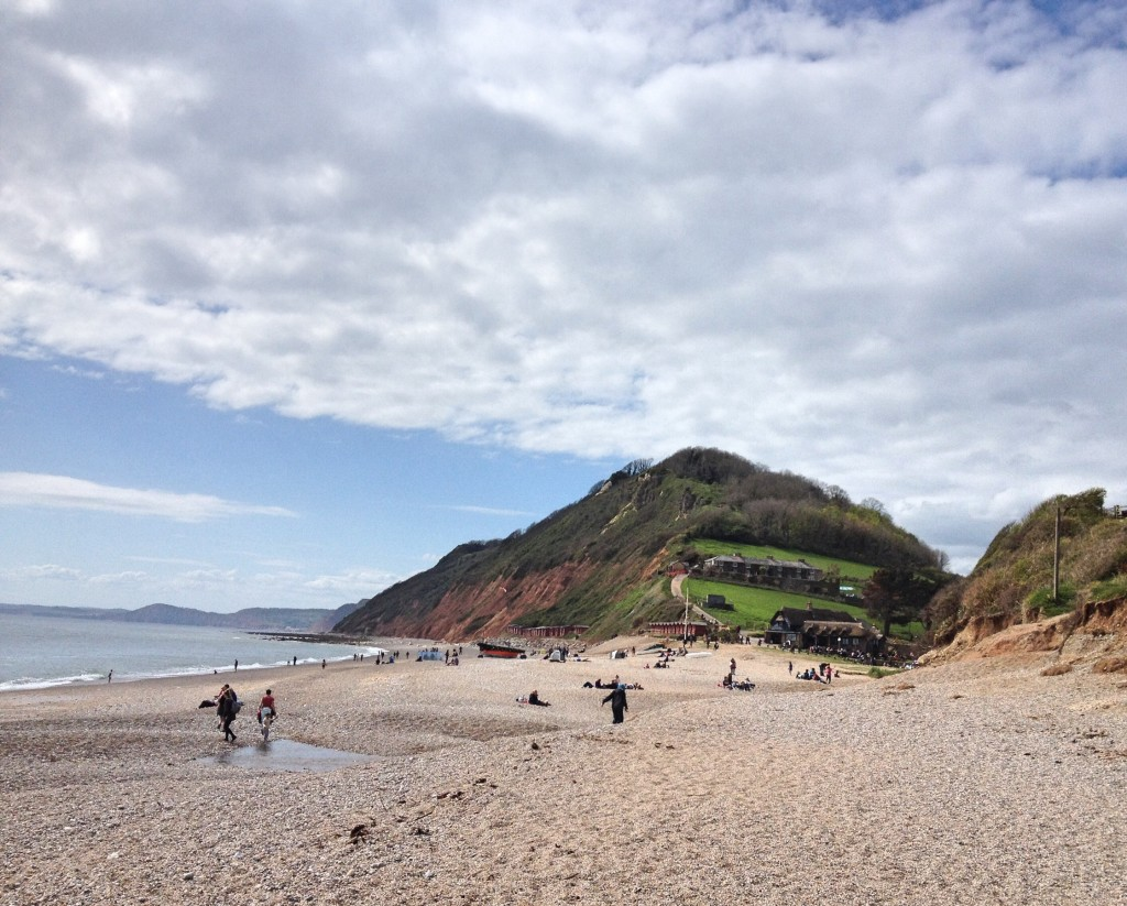 The view along Branscombe beach