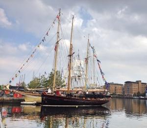 Tall ships at Wood Wharf, London