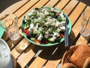 Greek salad: Courtesy of Wikimedia Commons cyclonebill on Flickr