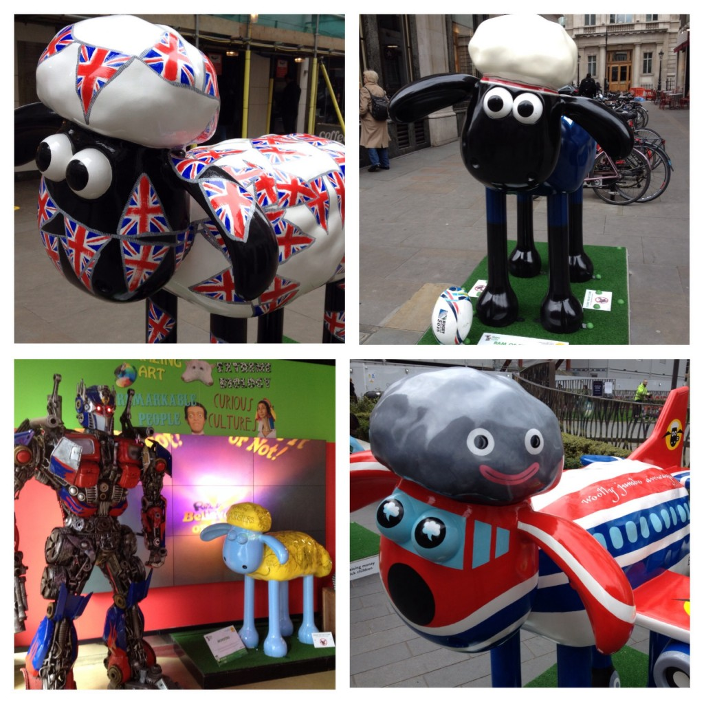 Rule Britannia (Broadwick St), Ram of the Match (Regent St), Monsters (Picadilly Circus), Woolly Jumbo (Leicester Square)