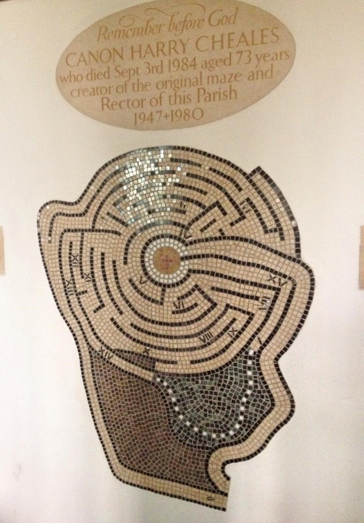 Mosaic maze in Wyck Rissington church