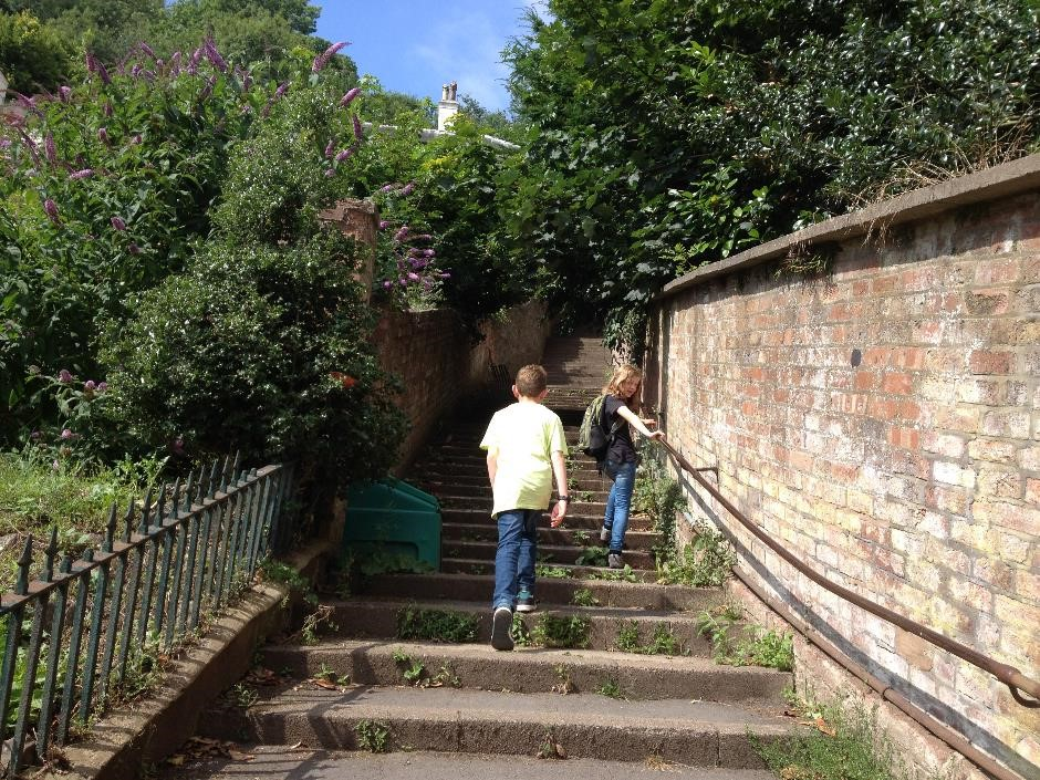 Walking up the 99 steps to St Ann's Well, Great Malvern