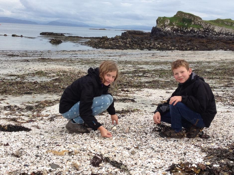Shell collecting on Glamisdale beach, Isle of Eigg