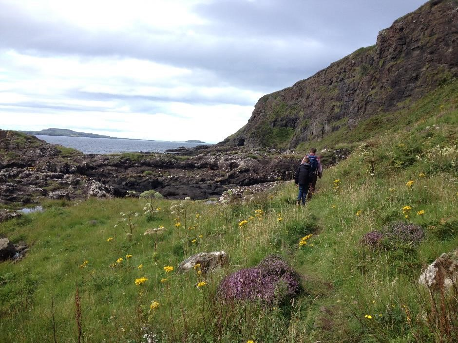 Walk to Cathedral Cave, Isle of Eigg