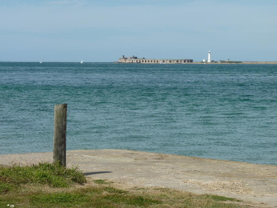 View of Hurst Castle from Fort Victoria Country Park, Isle of Wight
