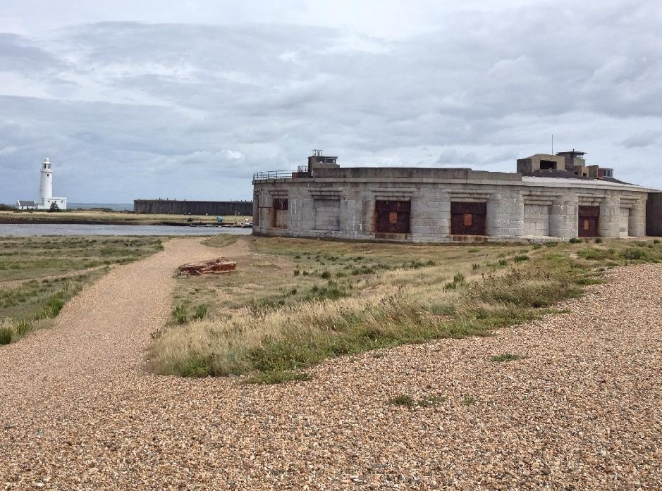 The approach to Hurst Castle
