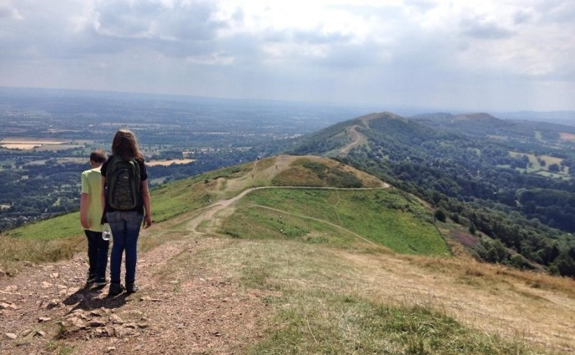 A family walk in the Malvern Hills, Worcestershire