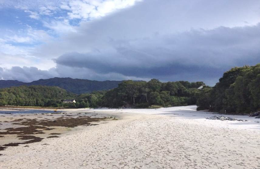 Silver Sands of Morar beach - and dark clouds!