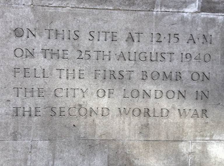 Plaque to remember possible site of first Second World War bomb in London, Fore Street