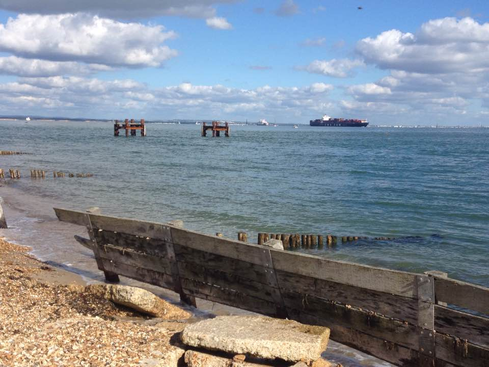 World War II ruins, off Lepe beach