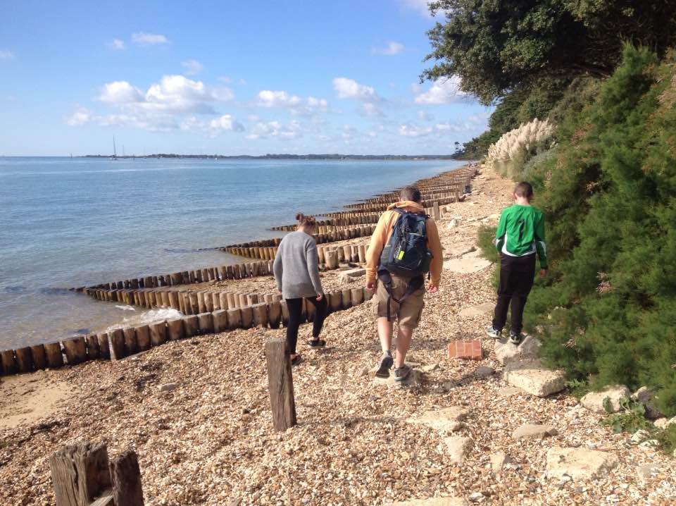 Walking along Lepe beach