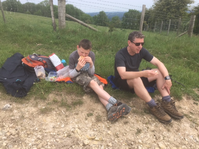 Lunch stop after Bignor Hill descent