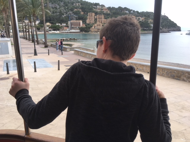 Riding the tram from Port de Soller