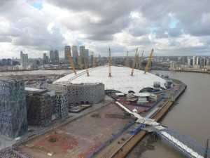 View of O2 arena from the Emirates Air Line