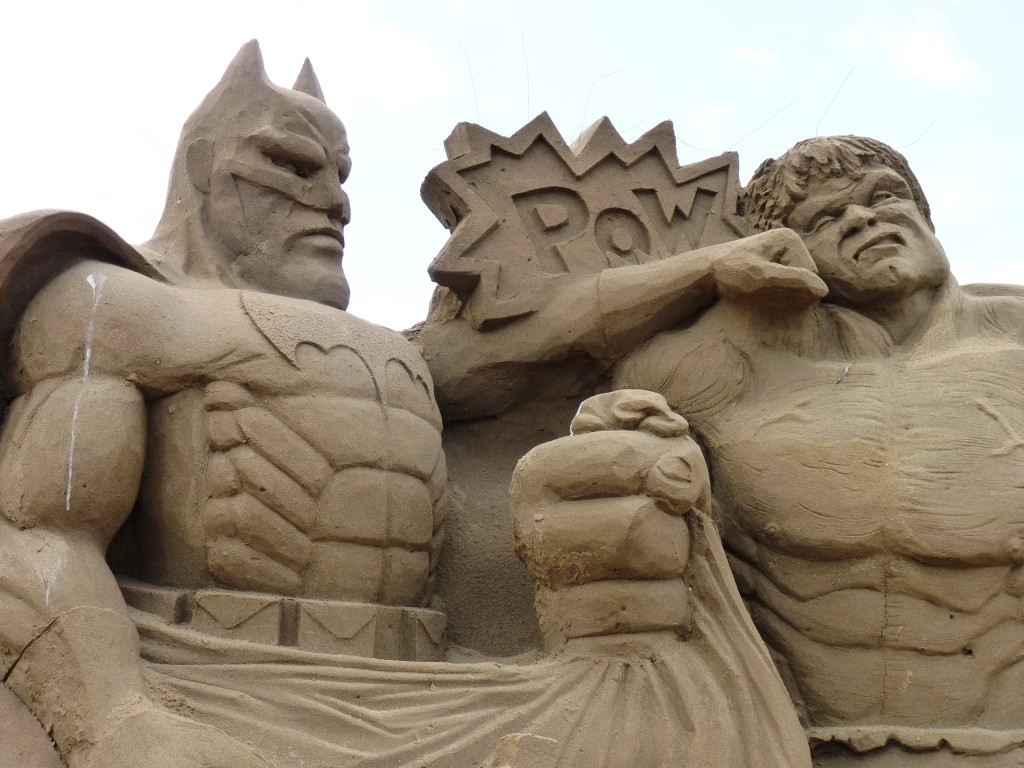 Super heroes at Weston sand sculpture festival