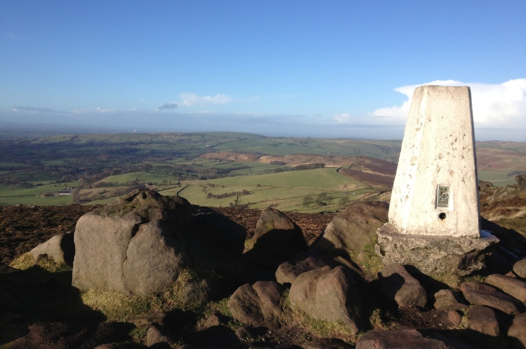 Trig point on the Roaches, Peak District