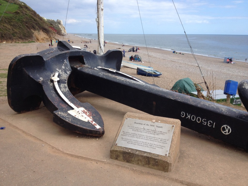 Anchor from MSC Napoli, Branscombe beach