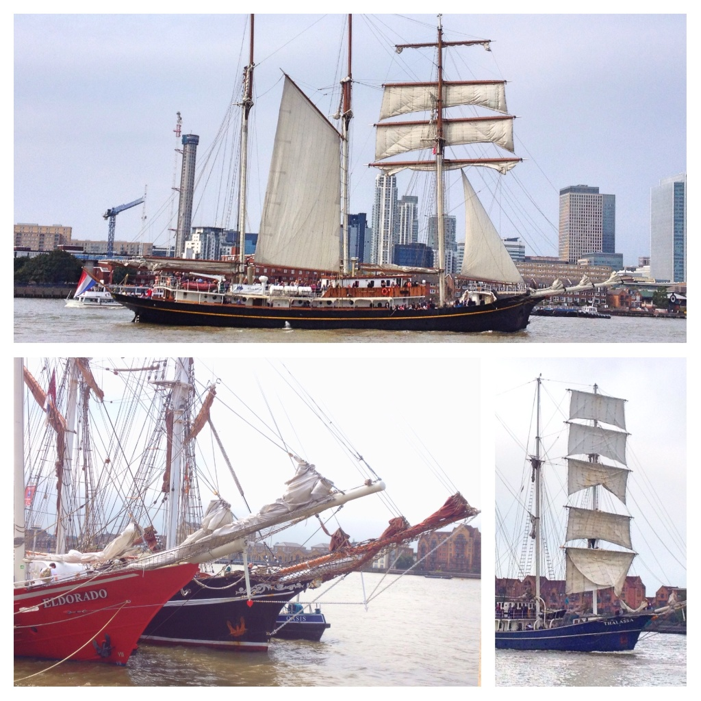 Tall ships sailing the Thames