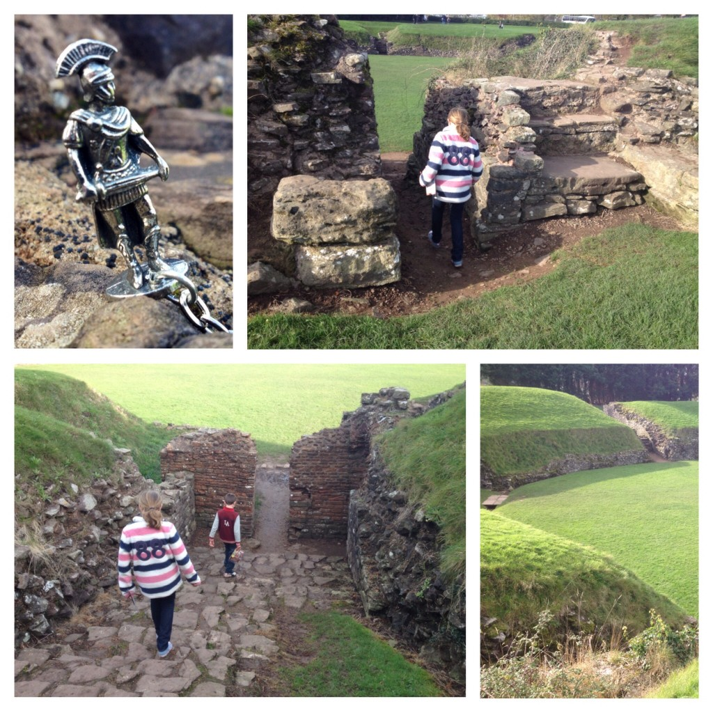 Exploring the amphitheatre at Caerleon