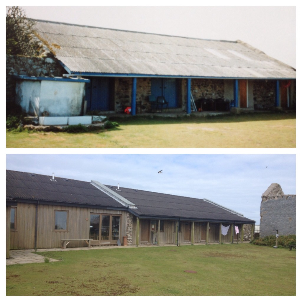 Skomer volunteer accommodation - 1990s vs 2015
