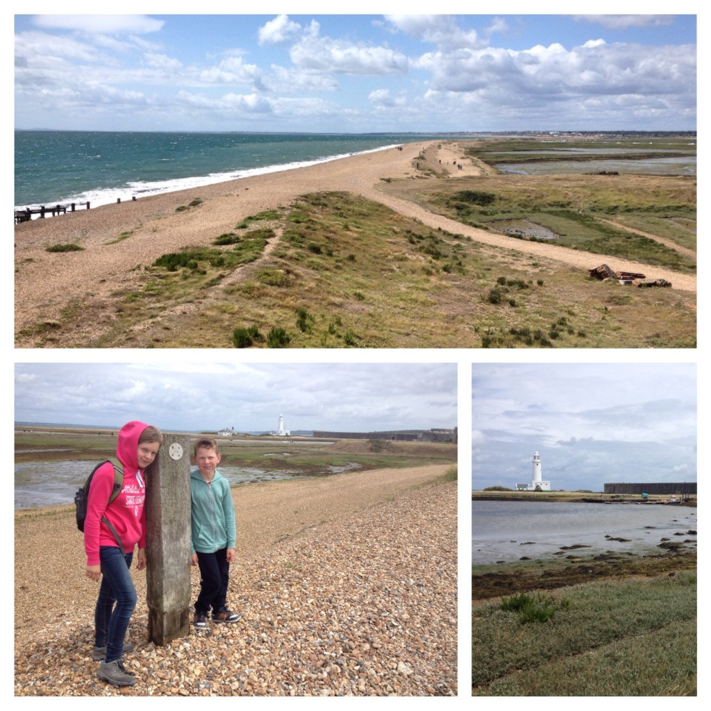 Shingle beach walk to Hurst Castle