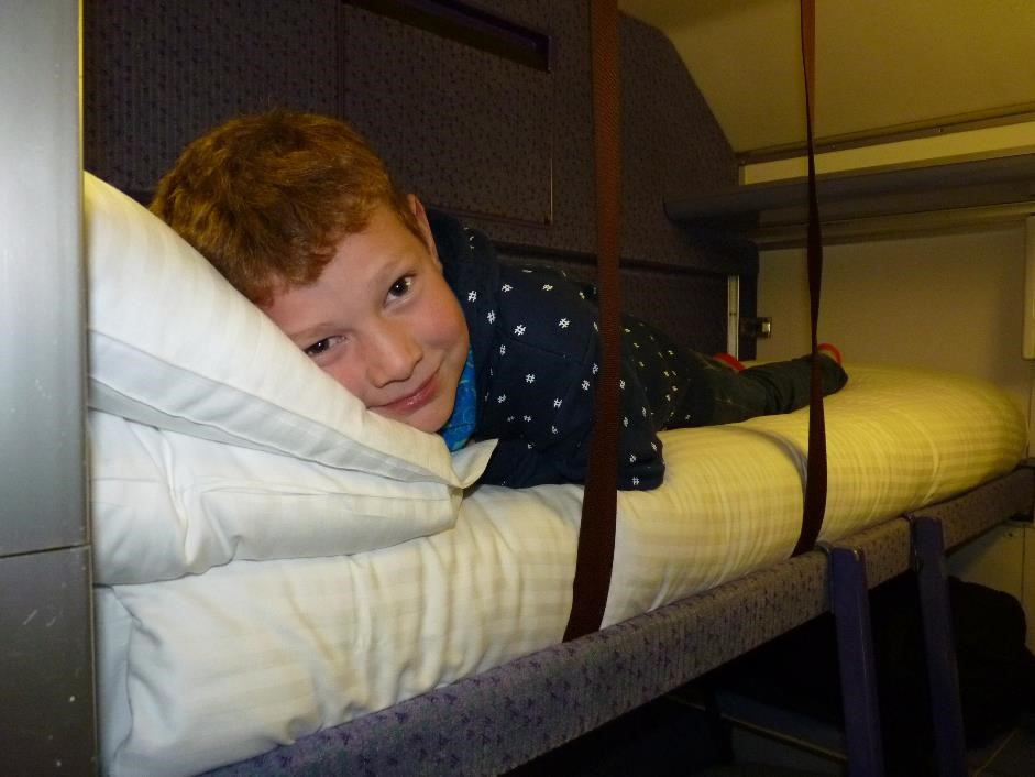 Checking out the beds on the Caledonian Sleeper