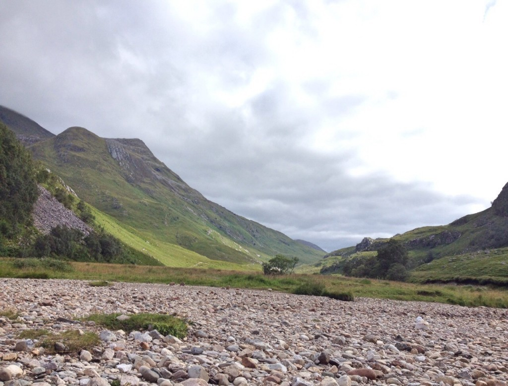 View along valley from Steall waterfall