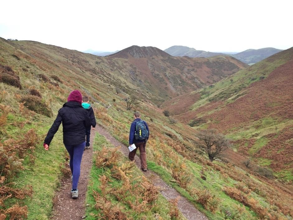 Walking down to Townbrook Hollow from The Long Mynd
