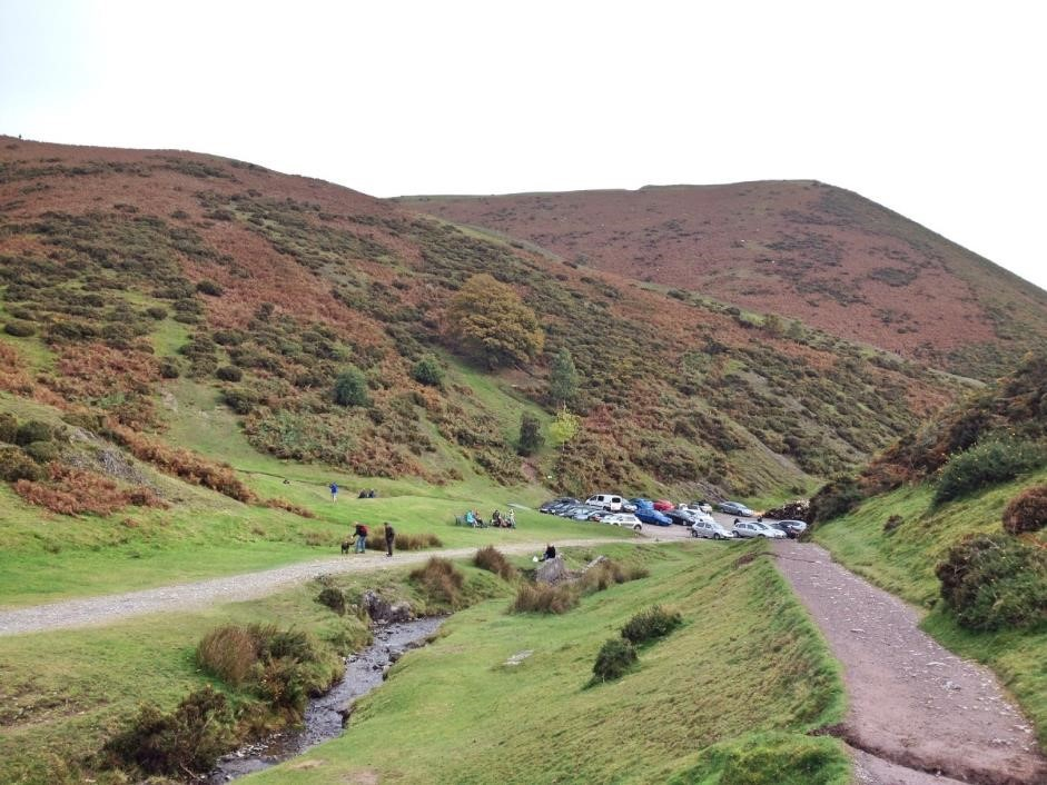 Carding Mill Valley - and the end of the car park!