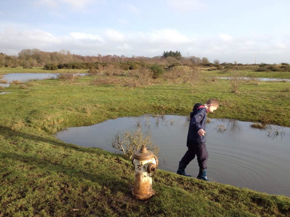 Testing the puddles at Greenham Common