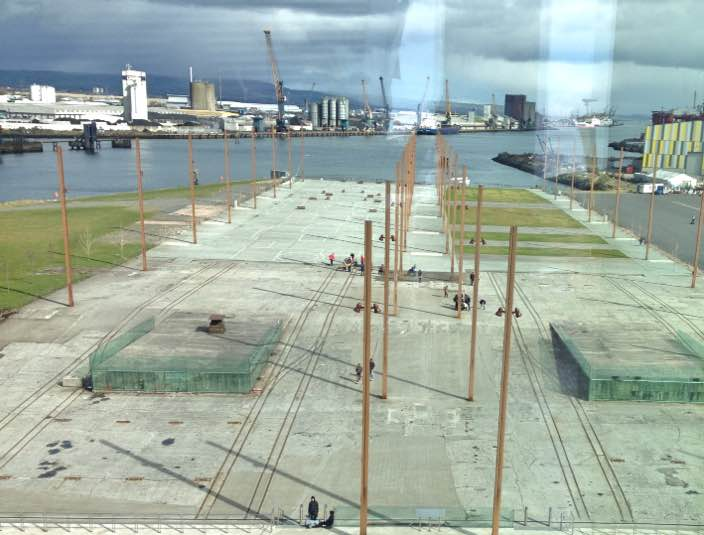 View from Titanic Belfast out to shipyards