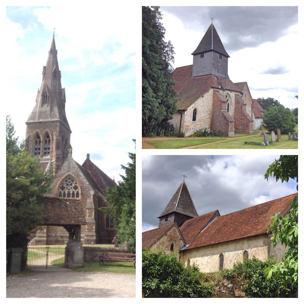 St Mary's Church, Mortimer (left) and St Mary the Virgin church, Silchester (right)