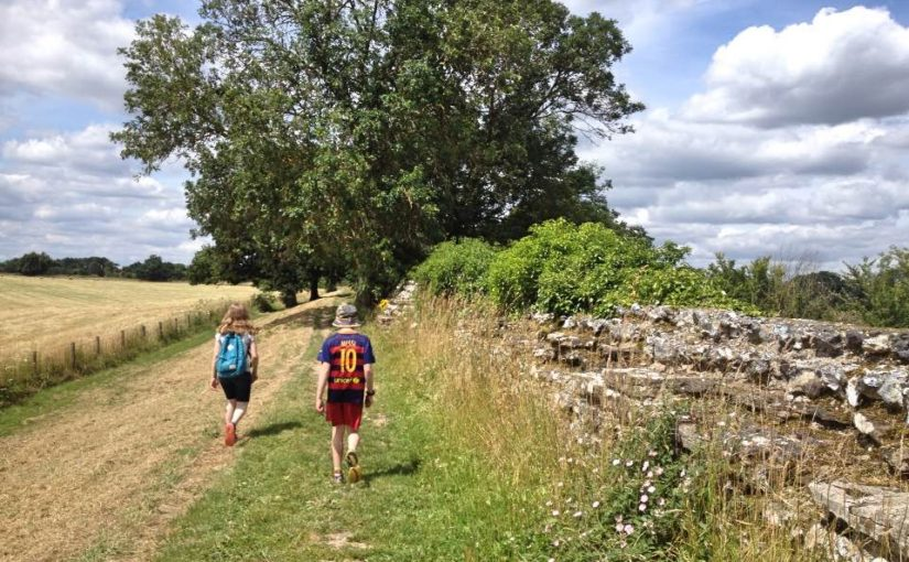Walking beside Silchester Roman wall