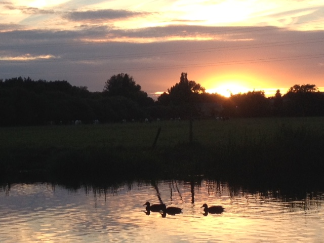 Sunset from Swinford Lock campsite, Eynsham