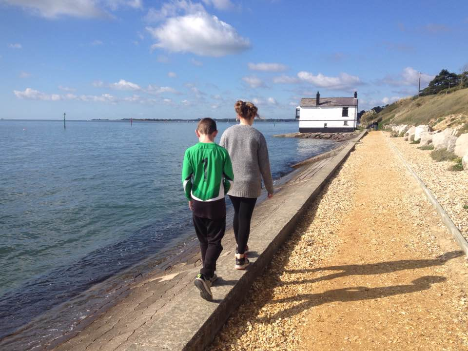 Walking towards Watch House, Lepe
