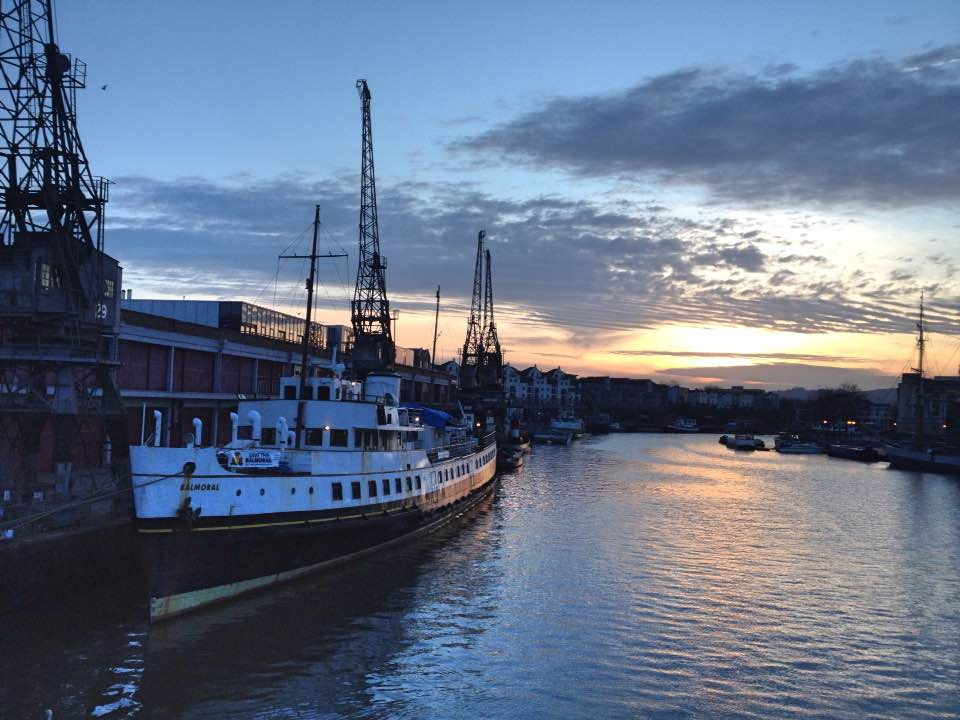 Sunset over Bristol harbourside