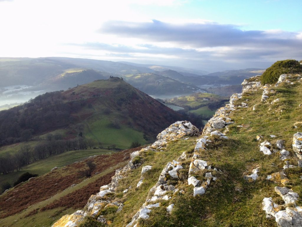 View from Trevor Rocks over to Dinas Castle