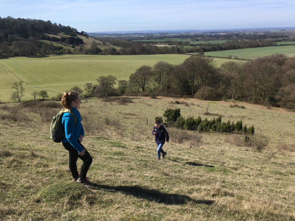 Walking up Bald Hill, Aston Rowant Nature Reserve