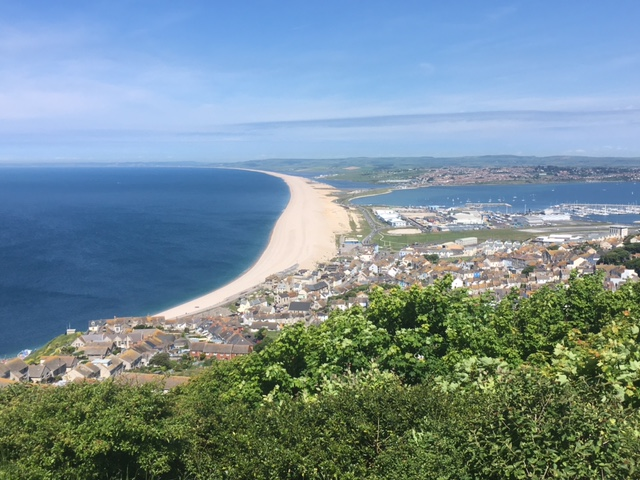 View of Chesil beach from Portland