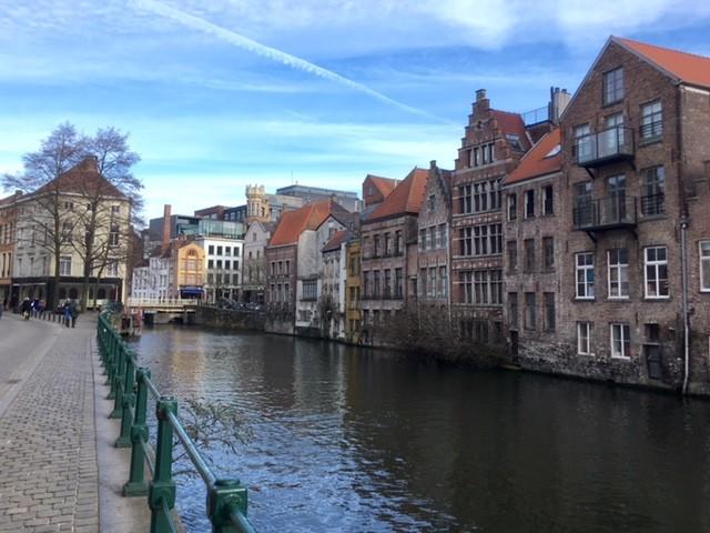 View from Kraanlei across the Leie, Ghent
