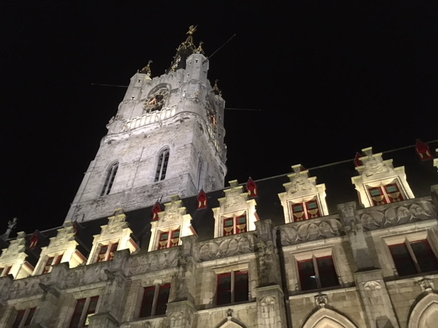 Ghent belfry at night