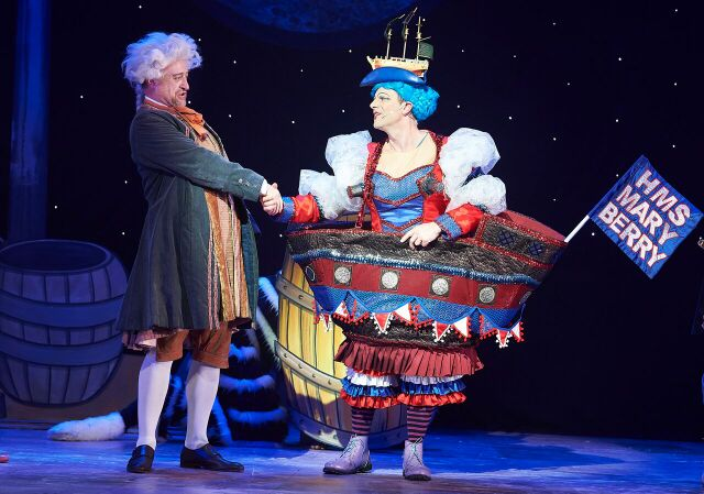 Mr Fitzwarren and Sarah, Dick Whittington. Photo courtesy of Oxford Playhouse.