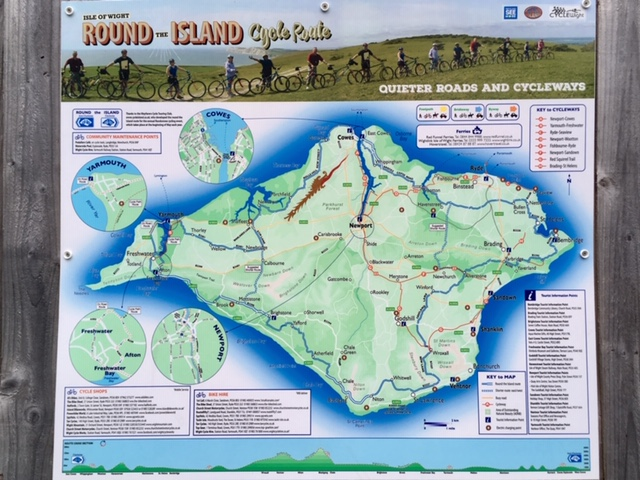 Round the island cycle route map, Isle of Wight